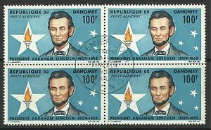 DAHOMEY. Centenary of Lincoln's Death Commemoratice. SG: 227. Fine Used 4 Block.