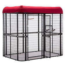 Heavy Duty Bird Cage Parrot Walk In Aviary Play Top LARGE, Roof Cover Included