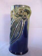 Remued Gumnut and gum leaf cylinder shape vase Australian Pottery Aus Pottery