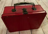 "Vintage Metal/Tin Lunchbox - Red - Lunch Box, Food Container - 8.5"" x 6.25"" x 3"""