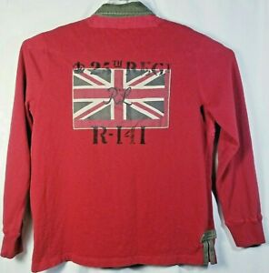 POLO RALPH LAUREN Custom Fit 25th Regt British Flag Long Sleeve Rugby Polo XL