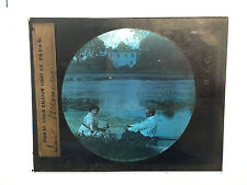 Antique 30s/40s Magic Lantern Glass Slide In Memory Man & Woman
