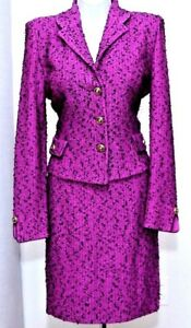 ST.JOHN Collection Womens Suit Knit Purple Black Boucle Tweed Jacket Skirt Sz 6