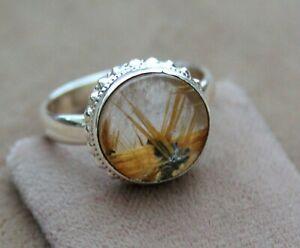 Top Ring mit Gold-Stern-Rutilquarz,10,7Ct, Ringgröße 59=18,8, Sterlingsilber 925