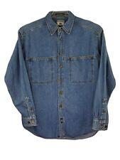 Lee Mens M Blue Denim Button Down Shirt E-24