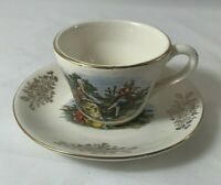 Vintage Demitasse Tea Cup and Saucer Romantic Couple Design Gold Trim Beautiful