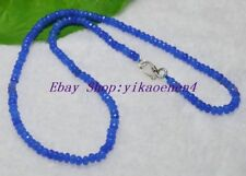 2x4mm Light Blue Sapphire Faceted Rondelle Gems Beads Necklace Silver Clasp AAA