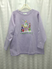 Quacker Factory Embroidered Snowman Lavendar Fleece Tunic Sz 1X