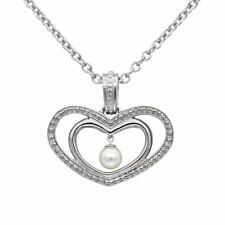 Double Heart Necklace Purity of Hearts Pendant with White Pearl By Controse