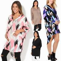 Maternity Long Sleeve Tunic Dress Loose V Neck Zip Top Pregnancy T Shirt Plus