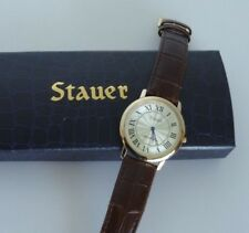 Stauer Gold Tone Swiss Movement Roman Numeral Brown leather Band Men's Watch