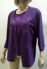 SUJI KIM Size L 14 PURPLE 2 pc set Beaded Rose Jacket Top Eveningwear NWOT $155