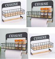 Black Wire Spice Rack Storage Organiser Spices Jars Shelf & Kitchen Towel Holder