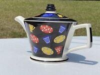 Vintage Teapot Sadler Made In England Mid Century Modernist Art Deco Multi Col