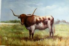 Long Horn ~  Hand Painted High Quality Oil Painting on Canvas 24