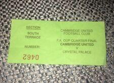 RARE 1989-90 CAMBRIDGE UNITED V CRYSTAL PALACE FA CUP QUARTER FINAL TICKET