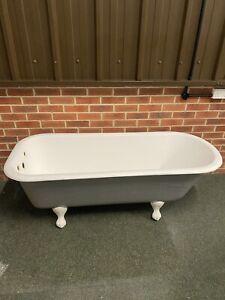 Cast Iron Roll Top Bath & Feet 1700mm Painted Farrow & Ball  plummett - Rare !!