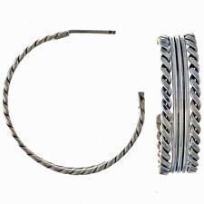 Twist Wire Silver Hoop Earrings Handmade Navajo Posts by Tahe