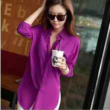 Fashion Women Blouse Long Sleeve Chiffon Shirt Turn-down Collar Casual Loose