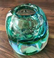 VTG HEAVY MCM GREEN BLUE ART GLASS FLAT SIDE CUBE VOTIVE CANDLE TEA LIGHT HOLDER