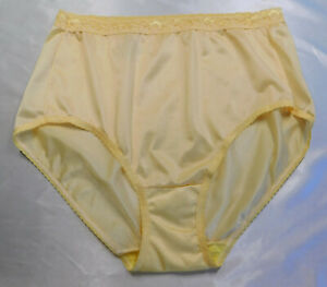 New JMS Hanes Nylon Brief Lace Waist Thin Silky Almost Sheer Bright Yellow 9/1X