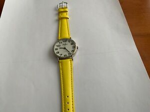REFEX LADIES WATCH YELLOW STRAP LARGE NUMBER SENT NEW BATTERY FITTED BRAND NEW