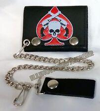 "Wallet & Chain 4"" Leather Trifold Skull & Pistols Biker Motorcycle Trucker (16)"