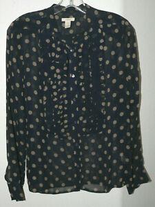 Women's J. CREW Size 8 Navy Blue w/Tan Polka Dots L/S Silk Ruffle Front Blouse