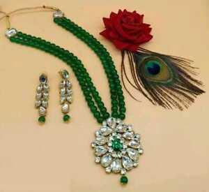 Indian Pearl Gold Tone Fashion Jewelry Wedding Bridal Necklace Earring Mala Set