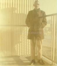 VINTAGE PHOTO: Black AFRICAN AMERICAN MAN w Glasses CASTS LG SHADOW on TERRACE