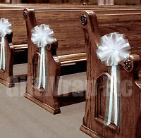 6 LARGE WHITE PEW PULL BOWS NET TULLE CHURCH AISLE CHAIR WEDDING DECORATIONS