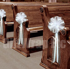 """6 Large 9"""" White Pull Pew Bows Church Aisle Wedding Ceremony Decorations"""