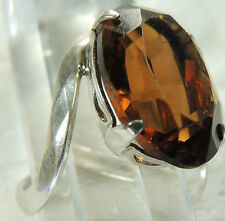 """VINTAGE J & D 3/4"""" SMOKEY STONE Hand Craft STERLING SILVER 925 HEART RING sz 6"""