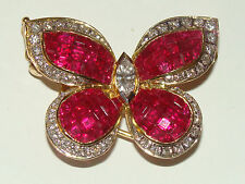 WOW SALE 18K Solid YG Ruby Diamond Butterfly Shape Pendant Brooch Pin 12.1 Gms