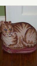 Beautiful Finished Needlepoint Cat Doorstop or Decorative Pillow