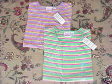 *NWT* 2 Girls TCP Striped S/S Tops Green Purple Sm 5/6
