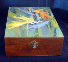 Handpainted Bird of Paradise Wooden Mirror Box ~ OOAK signed RAMfish Artist