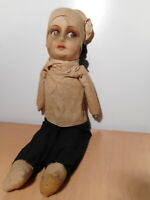 Great Antique Doll Baby Little Baby Fabrics Cloth Straw