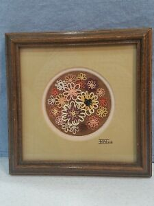 """Tatting The Art Of Needlework Floral Flowers 6"""" x 6"""" Wooden Frame"""