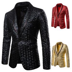 Mens Dress Suit Formal One Button Blazer Business Lapel Coats Show Stage Jackets