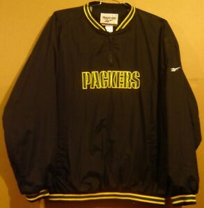 GREEN BAY PACKERS BLACK PULLOVER NFL JACKET BY REEBOK IN SIZE XXL