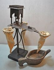 Old Antique Fine Hand Crafted Engraved Iron Opium Water Drinking Stand with bowl