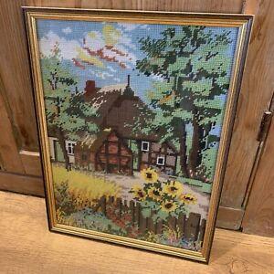 "Vintage Tapestry Needlepoint Of Cottage Garden Sunflowers Framed 12.5"" x 16.5"""