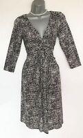 Phase Eight Black Stone Misty Print V Neck 3/4 Sleeve Flare Casual Dress size 10