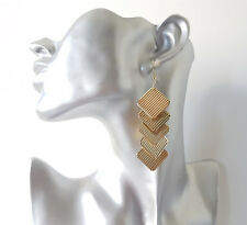 Gorgeous 8cm long gold tone layered patterned square shape drop earrings