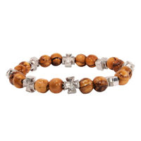 Stretch Bracelet Olive Wood Beads With Metal Cross Hand Made Holy Land Jerusalem
