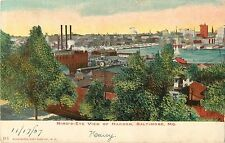 1907 Bird's Eye View of Harbor, Baltimore, Maryland Postcard