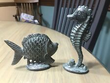 """Metal Fish and Seahorse Figurines 3"""" & 5"""" Tall"""