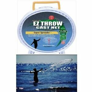 Fish Casting Net 3/8 Mesh Catch Bait Easy Throw 4' Net = 8' Diameter Fishing Net