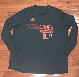Men's Miami Hurricanes adidas Long Sleeve climalite Creator Shirt NWT 2XL XXL